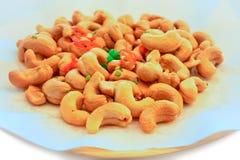 Fried Cashew Nut avec du sel, l'oignon vert et frais découpés en tranches Image stock