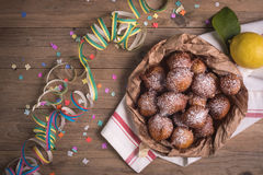Fried castagnole carnevale. Fried carnival italian dessert in carnival top view composition Stock Photography