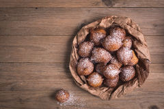 Fried castagnole carnevale. Fried carnival italian dessert in carnival top view composition Stock Images