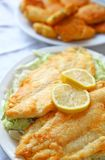 Fried catfish with hushpuppies. Battered and deep-fried catfish fillets on shredded cabbage with hushpuppies in the background royalty free stock photography