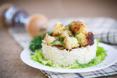 Fried cauliflower with boiled rice Stock Image