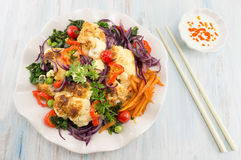 Fried cauliflower and mixed vegetables Royalty Free Stock Photo
