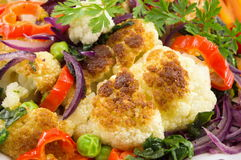 Fried cauliflower and mixed vegetables Stock Image