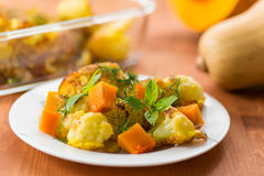 Fried cauliflower with a pumpkin Royalty Free Stock Photography