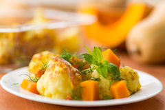 Fried cauliflower with a pumpkin Royalty Free Stock Image
