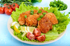 Fried caviar of river fish with lettuce leaves, cherry tomatoes on a light background. Royalty Free Stock Photos