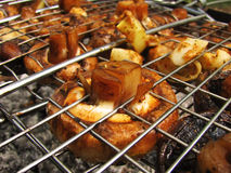 Fried champignons on a grill. Tasty fried mushrooms champignons on the grill stock photos