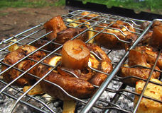 Fried champignons on a grill. Tasty fried mushrooms champignons on the grill stock image