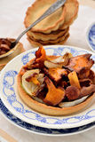 Fried chanterelle mushrooms with onion Royalty Free Stock Photos