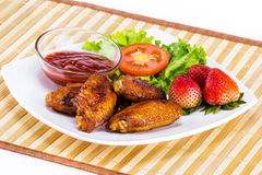 Fried checken with fresh vegetable Stock Image