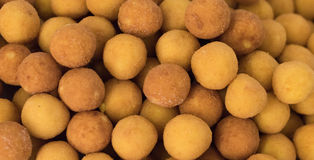 Fried Cheese Balls. A close up shot of round panned and fried cheese balls Royalty Free Stock Photos