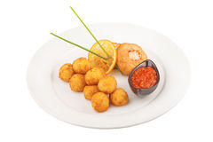 Fried Cheese Balls with meat cutlets Royalty Free Stock Photos