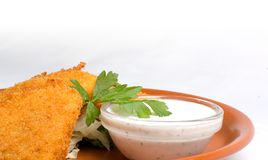 Fried cheese & dipping sauce Stock Photography