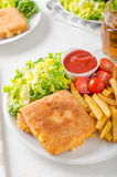 Fried cheese with french fries and lettuce Royalty Free Stock Image