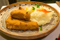 Fried cheese with mashed potatoes Royalty Free Stock Photography