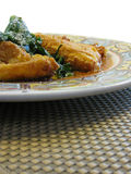 Fried cheese and spinach Royalty Free Stock Photos