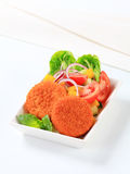 Fried cheese with vegetable salad Royalty Free Stock Photography