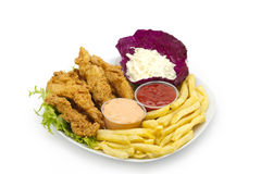 Fried Chicked served with salad , french fries & Sauce Royalty Free Stock Photo