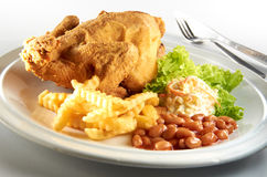 Fried Chicken. With potato chip, salad and baked bean Royalty Free Stock Photo