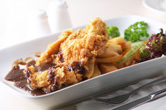 Fried Chicken. With potato salad black pepper sauce Royalty Free Stock Photography