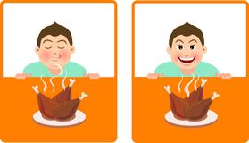 Fried chicken. Expression for a boy smell the fragrance of fried chicken and desirous of food Royalty Free Stock Photo