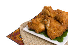Fried Chicken. Plate of Fried Chicken over white background Stock Images