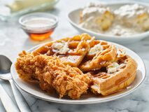 Free Fried Chicken And Waffles Breakfast With Syrup Royalty Free Stock Photos - 190500738