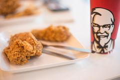 KFC Fried chicken on the table stock images