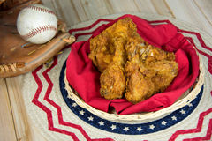 Fried chicken and baseball in glove
