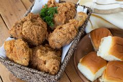 Fried Chicken and Rolls Royalty Free Stock Image