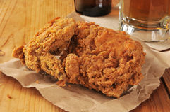 Fried chicken and beer Stock Photos