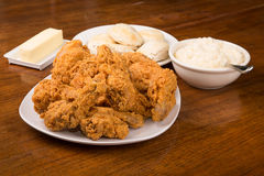 Fried Chicken with Biscuits and Mashed Potatoes Royalty Free Stock Photo
