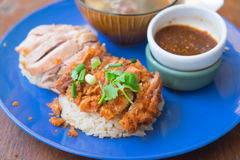 Fried chicken and boil chicken with rice. Close up of Fried chicken and boil chicken with rice royalty free stock images