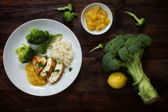 Fried chicken breast fillet with stewed fruit sauce, broccoli an Stock Photos