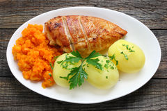Fried chicken breast with potatoes Royalty Free Stock Photos