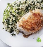 Chicken and quinoa salad. Fried Chicken breast and quinoa salad stock photography