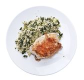 Chicken and quinoa salad on white background. Fried Chicken breast and quinoa salad isolated on white background royalty free stock photography