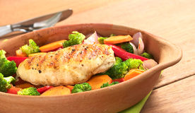 Fried Chicken Breast with Vegetables Stock Photos