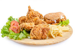 Fried chicken and burger Royalty Free Stock Photos