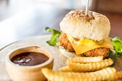 fried chicken with cheese burger Stock Image