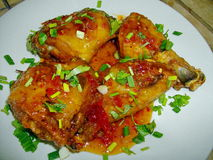 Fried Chicken Chilli Sauce Stock Foto
