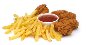 Fried Chicken and Chips. With Ketchup royalty free stock photo