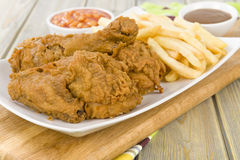Fried Chicken & Chips Stock Images