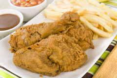 Fried Chicken & Chips Royalty Free Stock Image