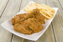Fried Chicken & Chips Royalty Free Stock Photography