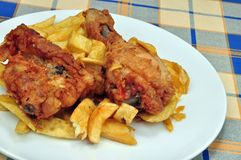 Southern Fried Chicken and Chips Royalty Free Stock Photo