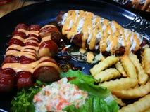Fried Chicken Chop & x28; Cogumelo Sauce& x29; fotografia de stock