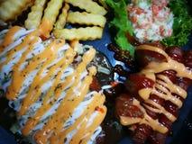 Fried Chicken Chop ( Cogumelo Sauce) fotografia de stock royalty free