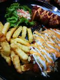 Fried Chicken Chop ( Cogumelo Sauce) fotografia de stock
