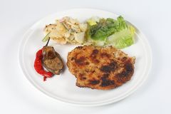 Fried Chicken Chop. With grill vegetable potato green salad stock photo